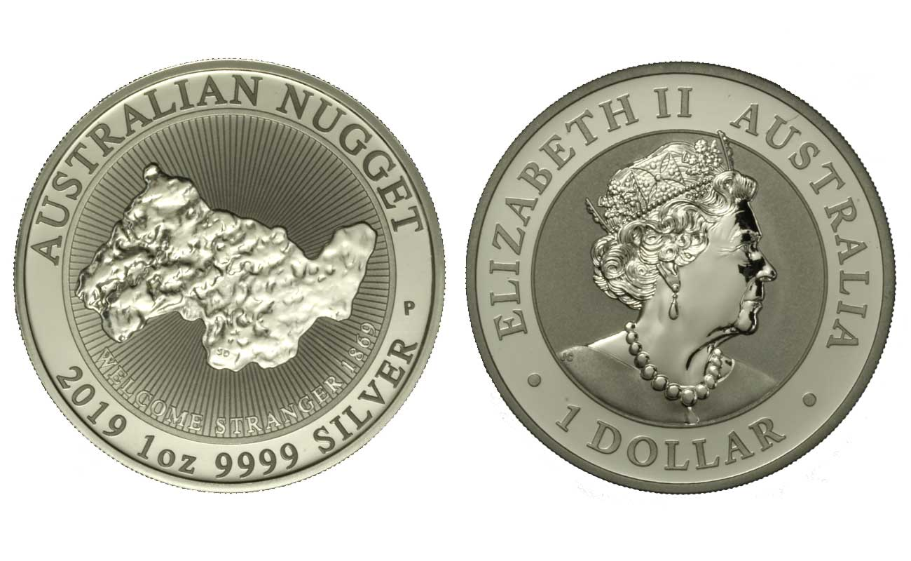 """Nugget"" - moneta da 1 Dollaro (1 oz) gr.31,10 in ag.999/000"