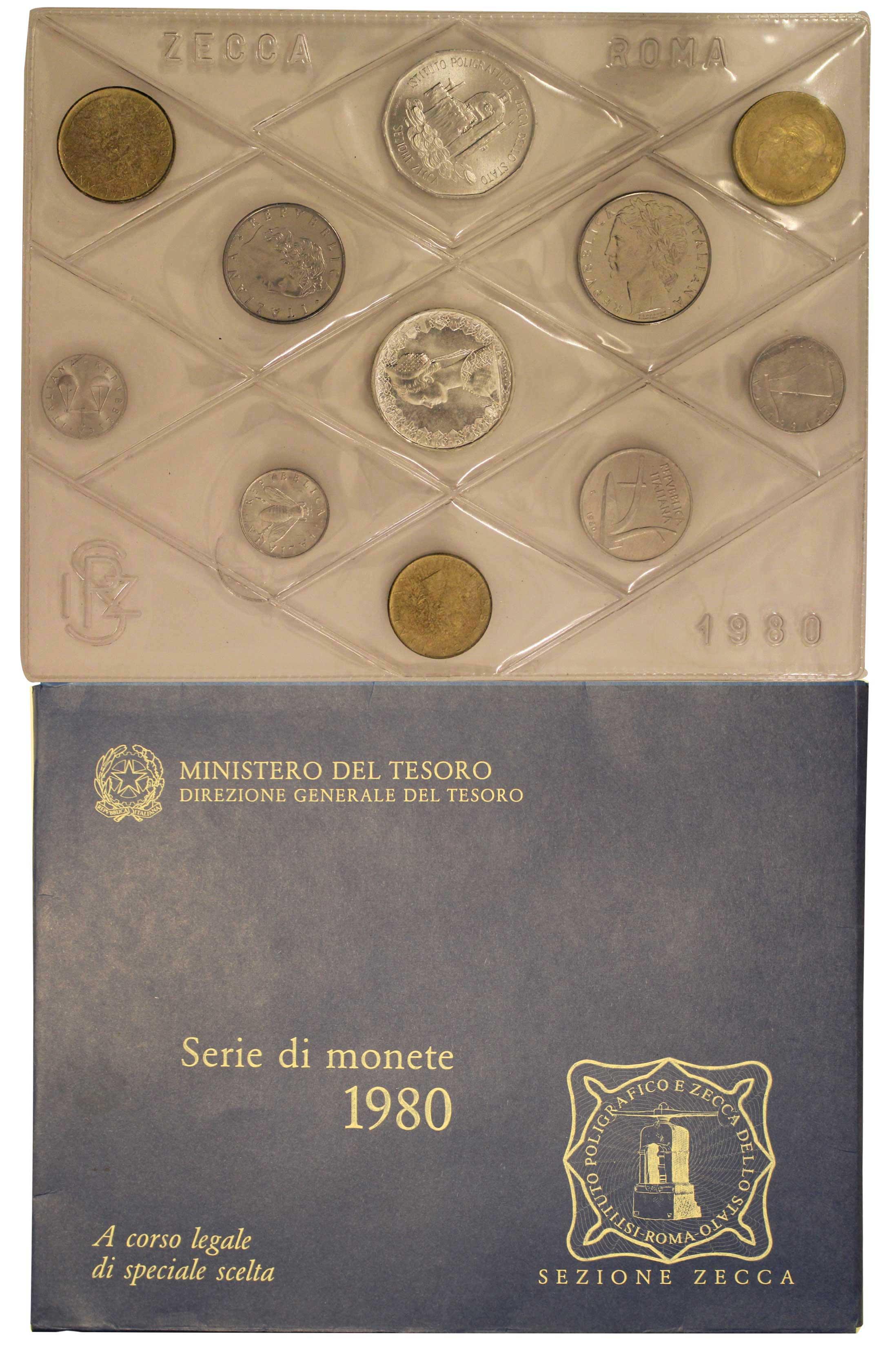 045e96ec01 1980 - Serie completa di 10 monete confezionate dalla Zecca Italiana